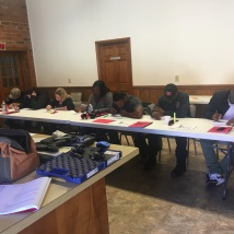 Students taking their written exam