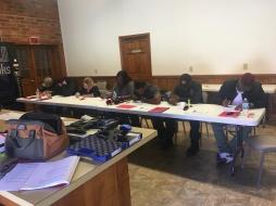Students taking their written exam
